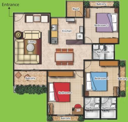 Poddar Palm Greens (3BHK+3T (1,557 sq ft) Apartment 1557 sq ft)