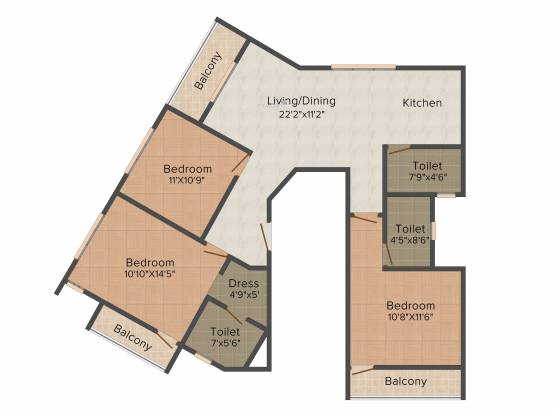 Mounthill Breeze (3BHK+3T (1,672 sq ft) Apartment 1672 sq ft)