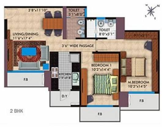 Parsvnath Platinum (2BHK+2T (1,200 sq ft) Apartment 1200 sq ft)