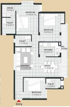 Agarwal Aditya Royal Crescent (3BHK+3T (1,571 sq ft) Apartment 1571 sq ft)