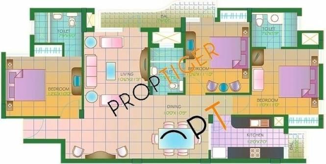 Agarwal Aditya Suntech City (3BHK+3T (1,450 sq ft) Apartment 1450 sq ft)