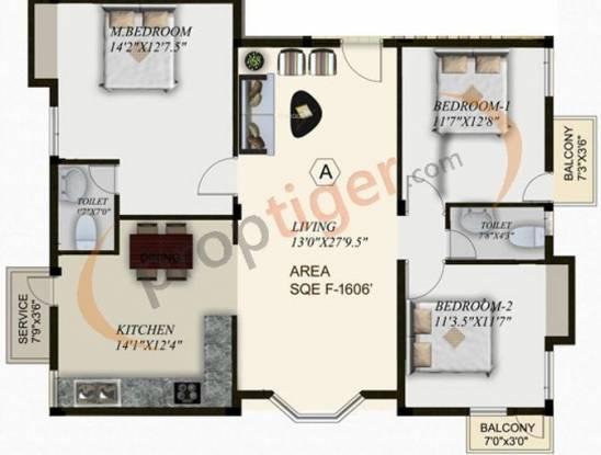 Sreenivas Glenn (3BHK+2T (1,606 sq ft) Apartment 1606 sq ft)