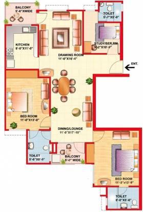 Eldeco Riviera (2BHK+3T (1,515 sq ft)   Study Room Apartment 1515 sq ft)