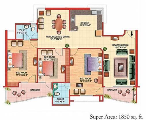 Eldeco Citadel (3BHK+2T (1,850 sq ft) Apartment 1850 sq ft)