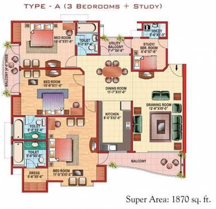 Eldeco Citadel (3BHK+3T (1,870 sq ft)   Servant Room Apartment 1870 sq ft)