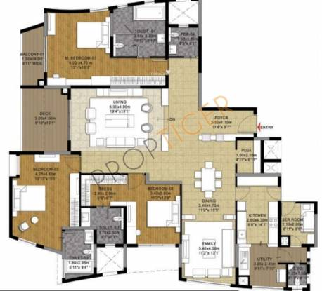 Esteem Elegance (3BHK+4T (3,700 sq ft) + Servant Room Apartment 3700 sq ft)