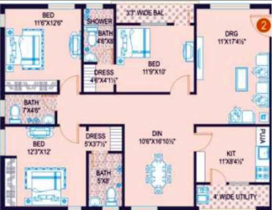 Jubilee Surya (3BHK+3T (1,569 sq ft) Apartment 1569 sq ft)