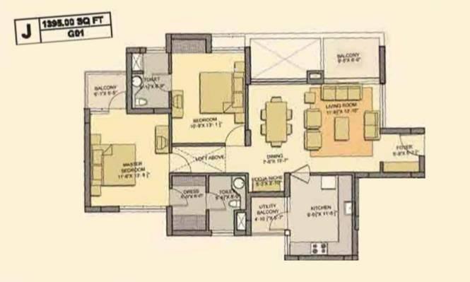 Akshaya Metropolis (2BHK+2T (1,395 sq ft) Apartment 1395 sq ft)