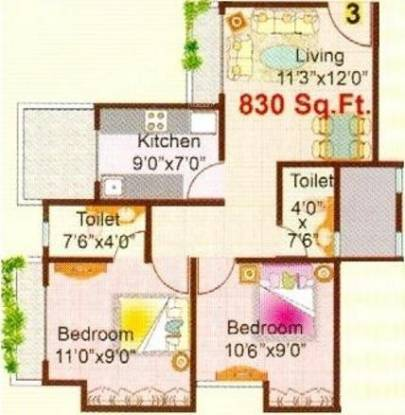 Lok Dhara phase II (2BHK+2T (830 sq ft) Apartment 830 sq ft)