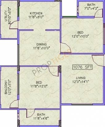 Vintage Elite Apartments A (2BHK+2T (1,076 sq ft) Apartment 1076 sq ft)