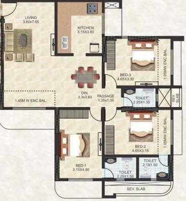 Thakur Jewel Tower (3BHK+3T (2,055 sq ft) Apartment 2055 sq ft)