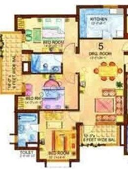 Eros WoodBury Tower (3BHK+3T (1,625 sq ft) Apartment 1625 sq ft)