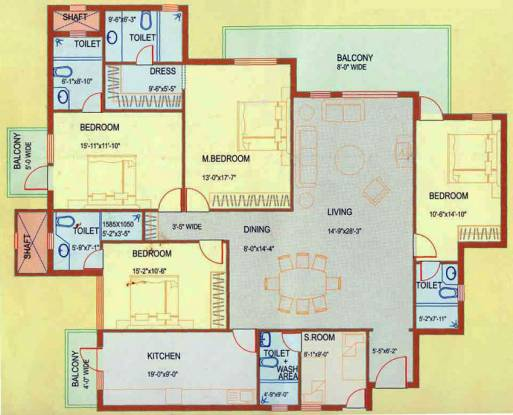 DLF Westend Heights (4BHK+5T (2,700 sq ft)   Servant Room Apartment 2700 sq ft)
