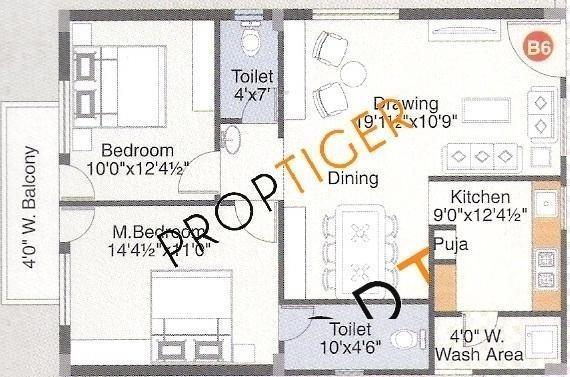 Ushodaya S Square (3BHK+3T (1,600 sq ft)   Pooja Room Apartment 1600 sq ft)