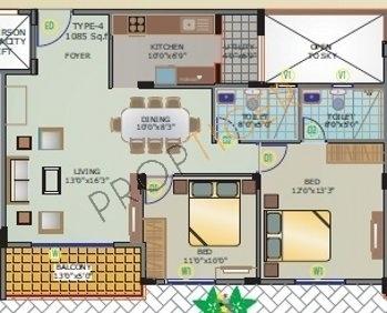 Siri Habitat (2BHK+2T (1,085 sq ft) Apartment 1085 sq ft)