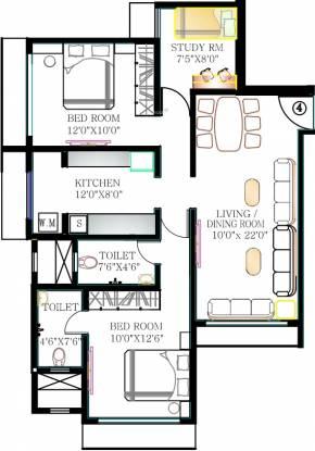 Kabra Rageshree (2BHK+2T (1,300 sq ft)   Study Room Apartment 1300 sq ft)