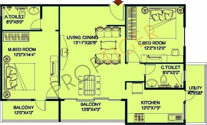Jupiter Commanders Pinnacle (2BHK+2T (1,370 sq ft) Apartment 1370 sq ft)