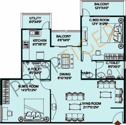 Jupiter Commanders Pinnacle (2BHK+2T (1,408 sq ft) Apartment 1408 sq ft)