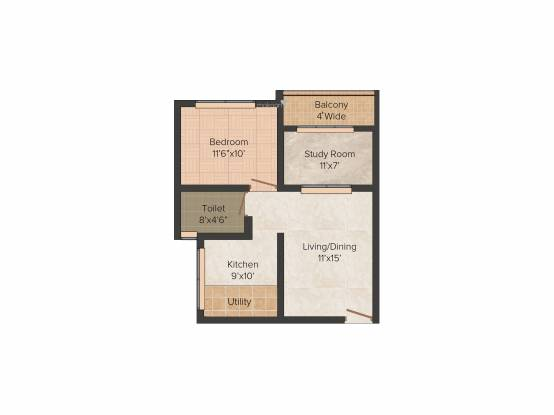 Jupiter Commanders Glory (1BHK+1T (725 sq ft)   Study Room Apartment 725 sq ft)