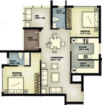 Landmark Timberton (2BHK+2T (1,250 sq ft) Apartment 1250 sq ft)