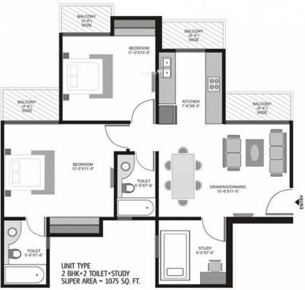 Ajnara Homes121 (2BHK+2T (1,075 sq ft) + Study Room Apartment 1075 sq ft)