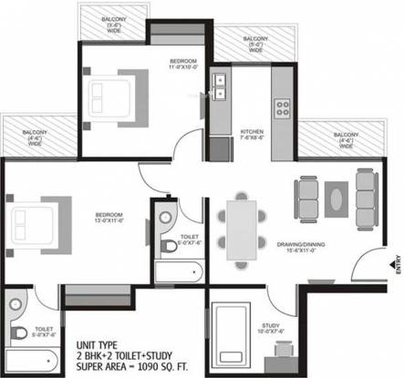 Ajnara Homes121 (2BHK+2T (1,090 sq ft) + Study Room Apartment 1090 sq ft)