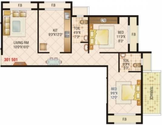 JP Samant Heritage (2BHK+2T (1,057 sq ft) Apartment 1057 sq ft)