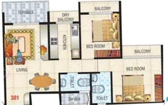 Jai Gurudeo Gurudev Heights (2BHK+2T (995 sq ft) Apartment 995 sq ft)
