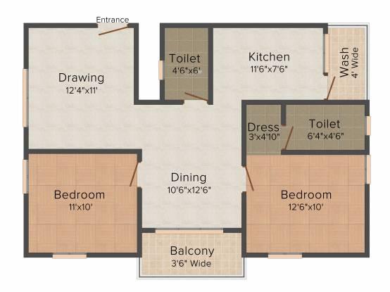 Satwi Clarinet (2BHK+2T (1,020 sq ft) Apartment 1020 sq ft)