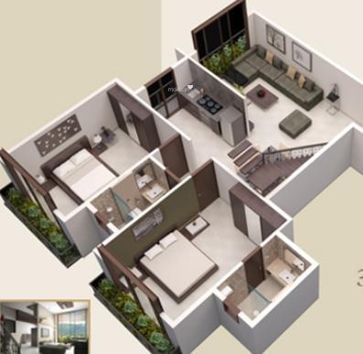 Ashapura Park West Apartments (2BHK+2T (1,355 sq ft) Apartment 1355 sq ft)