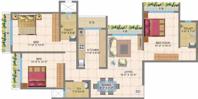Chheda New Gagangiri (3BHK+3T (1,555 sq ft) Apartment 1555 sq ft)
