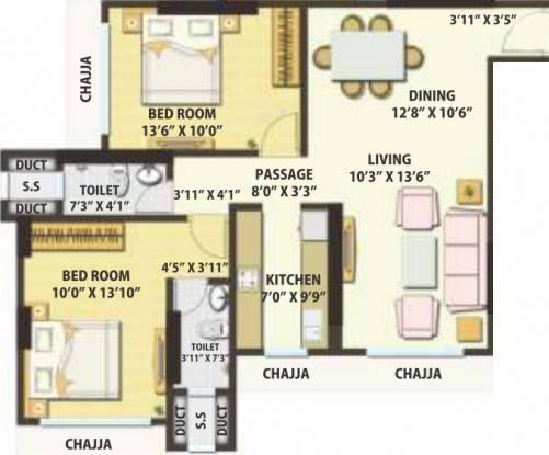 Kamala Matrubhumi (2BHK+2T (732 sq ft) Apartment 732 sq ft)