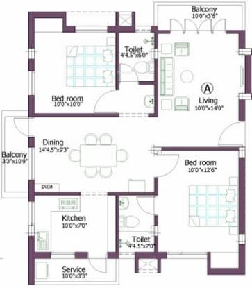 Firm Rupa (2BHK+2T (1,085 sq ft) Apartment 1085 sq ft)