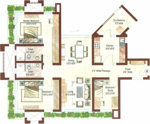 Ashford Royale (2BHK+2T (1,475 sq ft) + Study Room Apartment 1475 sq ft)