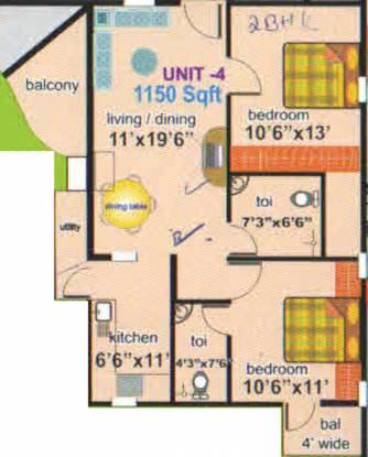 Sanjana Sapphire (2BHK+2T (1,150 sq ft) Apartment 1150 sq ft)