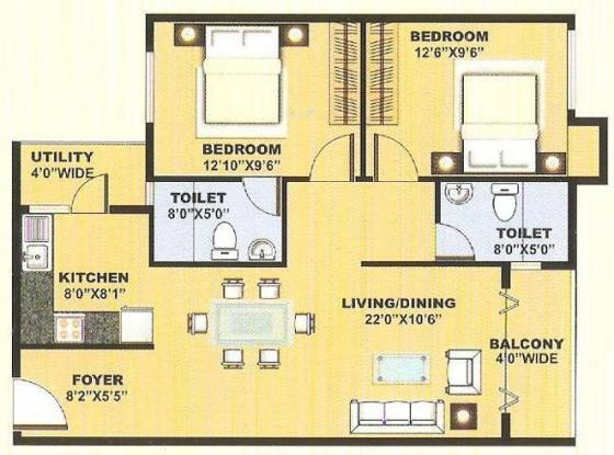 Blue Stone Anveshana (2BHK+2T (1,085 sq ft) Apartment 1085 sq ft)