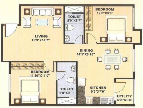 Blue Stone Anveshana (2BHK+2T (1,125 sq ft) Apartment 1125 sq ft)