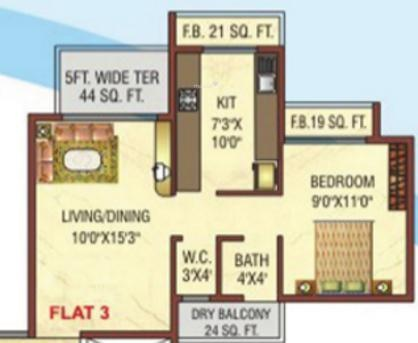 Dolphin Elite Tower (1BHK+1T (770 sq ft) Apartment 770 sq ft)