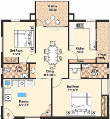 Gowra Express Towers (2BHK+2T (1,390 sq ft) Apartment 1390 sq ft)