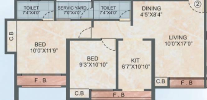 Mateshwari Altura (2BHK+2T (1,105 sq ft) Apartment 1105 sq ft)