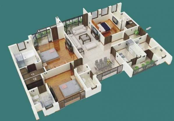 Jaypee The Castille II (3BHK+3T (2,200 sq ft) Apartment 2200 sq ft)