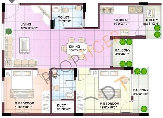 Sowparnika Chandrakantha (2BHK+2T (999 sq ft) Apartment 999 sq ft)