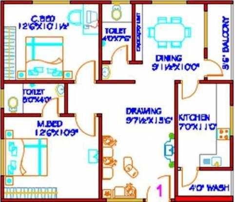 HSR Sai Nilayam (2BHK+2T (1,000 sq ft) Apartment 1000 sq ft)