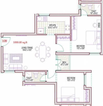 Harmony Bluemoon (2BHK+2T (1,000 sq ft) Apartment 1000 sq ft)
