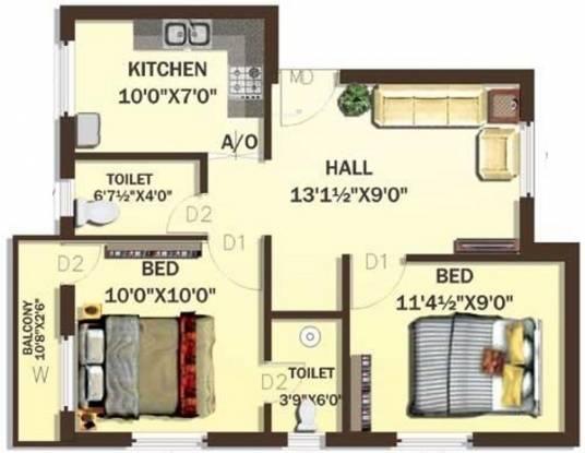 Rajeswari IBIS Fields (2BHK+2T (667 sq ft) Apartment 667 sq ft)