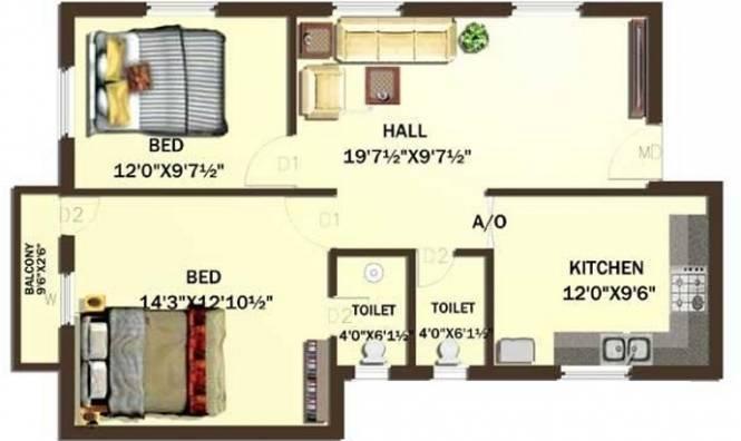 Rajeswari IBIS Fields (2BHK+2T (930 sq ft) Apartment 930 sq ft)