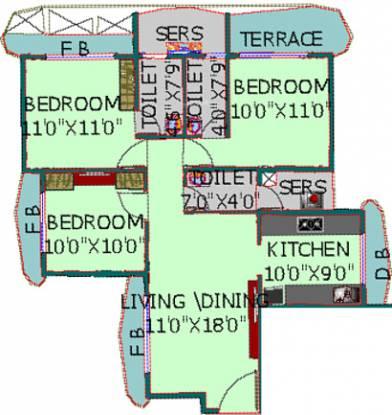 EV Zion II (3BHK+3T (1,435 sq ft) Apartment 1435 sq ft)