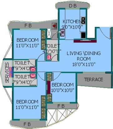 EV Zion I (3BHK+3T (1,435 sq ft) Apartment 1435 sq ft)