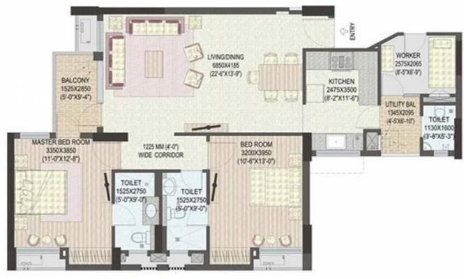Jaypee Klassic Heights (2BHK+3T (1,315 sq ft) Apartment 1315 sq ft)