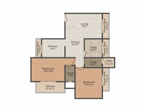 Yash Yash Apartments (2BHK+2T (1,391 sq ft)   Study Room Apartment 1391 sq ft)